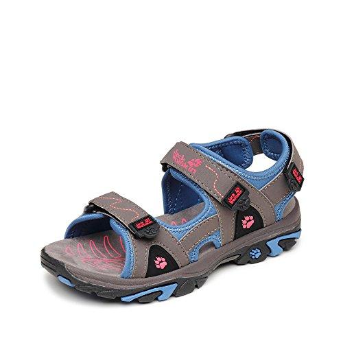 Jack Wolfs. Sandale, Groesse 37, grau/blau/pink