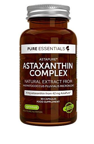 Pure Essentials Complejo de Astaxantina Natural, 4 mg de astaxantina 42 mg de AstaPure, con luteína y zeaxantina, 90 cápsulas