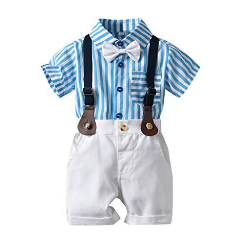 SUNFANY 2 Pcs Baby Jungen Bekleidung Set Festliche Kleidung Kleinkind Herren Anzüge Kurzarm Top Rayas Shirt + Shorts Hosen Set Gentleman Party Passen(Blau,90/12-18 Monate)