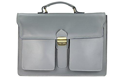 """Belli """"Design Bag B ital. Leder Businesstasche Arbeitstasche Messenger Aktentasche Lehrertasche Laptoptasche unisex hellgrau - 40x30x14 cm (B x H x T)"""