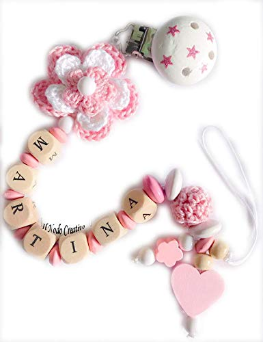Chupetero flores 3D crochet   cadena chupete nombre