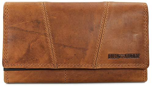 Hill Burry Vintage Leder Damen Geldbörse Portemonnaie braun | rot | grau | schwarz aus weichem Leder - 17,5x10x3cm (B x H x T) (Braun) -