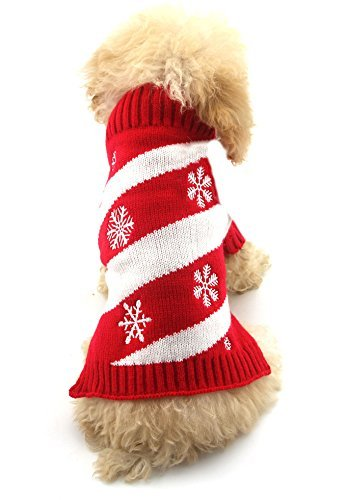 ihnachten Hund Katze Warm Winter Knit Jumper Rot & Weiß Schneeflocke ()