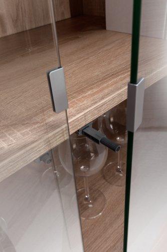 MAJA-Möbel 1234 2556 Aktenregal mit Glastüren, Schubladen und Türen, Sonoma-Eiche-Nachbildung - weiß Hochglanz, Abmessungen BxHxT: 80 x 214,5 x 40 cm