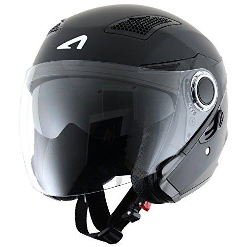 Astone Helmets fibra, Casco Jet, color Matt Negro, talla XL