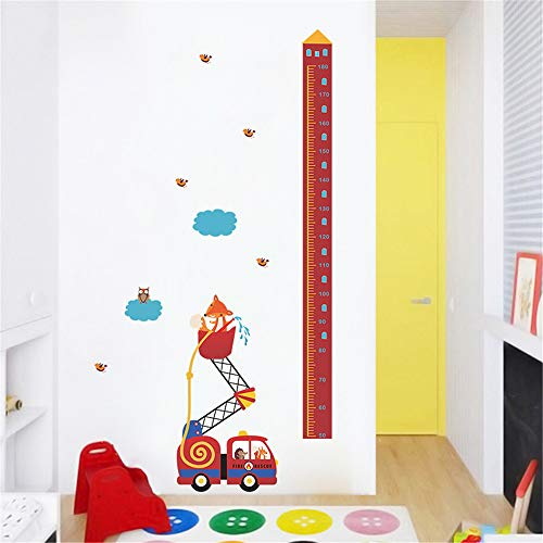 Tiere Feuer Rettungswagen Höhe Maßnahme Wandaufkleber Für Kinderzimmer Wachstum Chart Hause Tür Decor PVC Wandbild Wandkunst Aufkleber - Chart Tür Wachstum