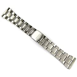 MapofBeauty Silver Stainless Steel Strap Unisex's Watches Strap 24mm