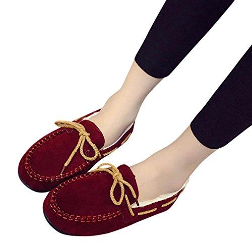 Hlhn autunno inverno donne caldi Flats gomma morbida rotonda casual piselli piatto scarpe, Similpelle, Black, 37.5 EU Wine
