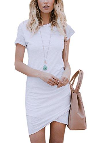 ECOWISH Damen Enges Kleid Sommerkleid Rundhals Kurzarm Kleid Bodycon Unregelmäßig Minikleid Weiß M