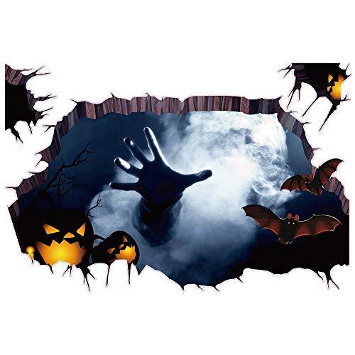 DERKOLY 3D Halloween Zombie Fledermaus Spinne Scary brechen durch die Wand-Aufkleber-Plakat-Abziehbild 1#