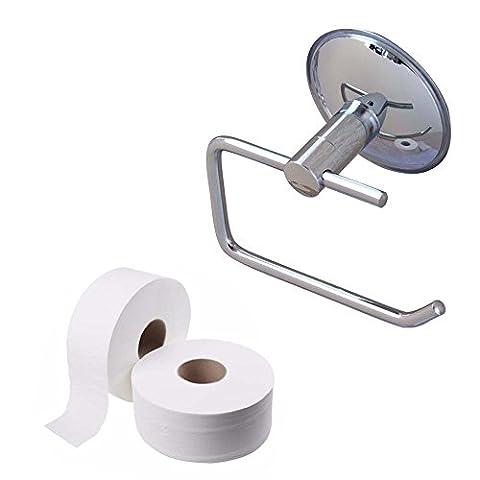 Salle de bain WC support pour rouleau de papier support mural en acier inoxydable résistant à la rouille Ventouse papier toilette Rouleaux de papier support Cintre support Organisateur–Chrome/No-drilling