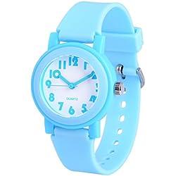 WOLFTEETH Analog Grade School Boys Reloj De Pulsera Con Segunda Mano Cute Pequeño Rostro Blanco Dial Resistente Al Agua Niño Azul 305803