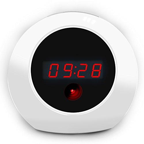 Aisoul Versteckte Spionagekamera Wecker – HD 1080p Innenraum Überwachungskamera mit Akku, Bewegungsmelder, Fernbedienung und 8GB SD Karte, Haustier Kamera und Mini Kamera Mini-wecker Versteckte Kamera