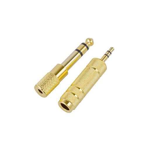 CE-Link Stereo Audio Adapter 6.35mm Klinkenstecker auf 3.5mm Klinken Buchse + 6,35mm Klinken-Buchse zu 3,5mm Klinken-Stecker mit Vergoldete Kontakte für Kopfhörer oder Lautsprecher, 2 Stück - Gold
