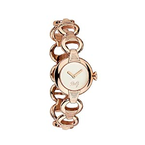 D&G Dolce&Gabbana DW0344 – Reloj analógico de mujer de cuarzo con correa de acero inoxidable rosa – sumergible a 30 metros