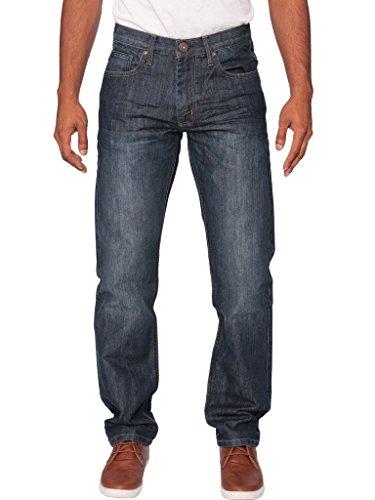 Ze ENZO New Mens Enzo Regular Straight Fit Denim Blue Jeans Pants All Waist Sizes