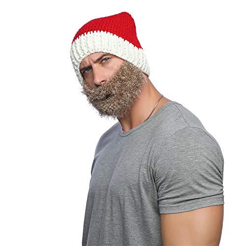 ouken 1PC Perücke Bart Hüte Handgemachte Knit warme Winter-Kappe Weihnachten Mützen Lustige Maske Beanie für Männer Frauen (Red Hat & Brown Beard)
