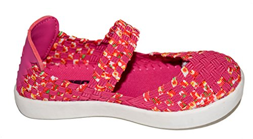 TMY DE1371 Mädchen Mary Jane Halbschuhe/ Geschlossene Ballerina, Farbe Pink- Rot Gr.: 24-29 Pink/ Rot