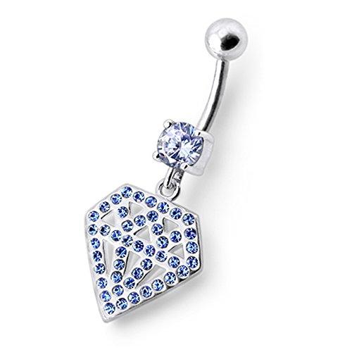 Bijou nombril pendant en argent sterling 925 Forme Diamant multi pierres Avec Banane 14Gx3/8(1.6x10MM) en acier chirurgical 316L et Boule 5MM. Lavender