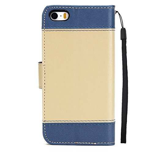 Dual Color Matching Premium PU Leder Flip Stand Case Cover mit Card Cash Slots und Lanyard für iPhone 5 & 5s & SE ( Color : Blue ) Gold