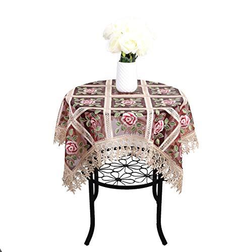 Newisher Vintage Burgunderrot Spitze Floral Bestickt Kleine Tischdecke Durchscheinend Gaze Tischdecke Square 33