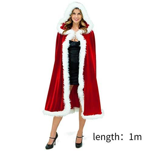 Claus Frau Und Kostüm Santa - Weihnachts-Kostüm für Erwachsene Frauen Hooded Cloak Frau Santa Claus Velvet Pelz Cloak Capa Red Cloak Cape,1meter