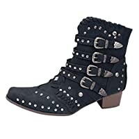 SSUPLYMY Women Retro Pointed Toe Ankle Short Boots, Ladies Fashion Rome Low Heels Shoes Buckle Country Boots Western Style Jodhpur Moccasins Mid Heel Short Boots Gothic Yard Boots