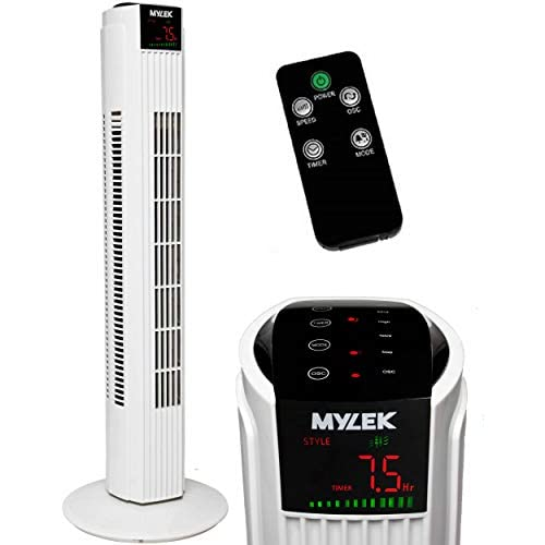 41eudLk57ZL. SS500  - MYLEK Tower Fan with Remote Control, Oscillation and Timer for Bedroom/Kitchen/Office (White, 31 Inch)