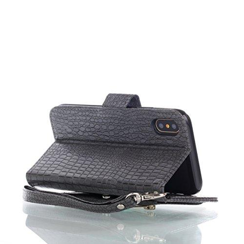 CaseforYou Hülle iphone X Schutz Gehäuse Hülse Crocodile Grain PU Leather Case Flip Stand Cover with Zipper Purse Built-in Card Slots and Lanyard Schutzhülle für iphone X Handy (Red) Dark Grey