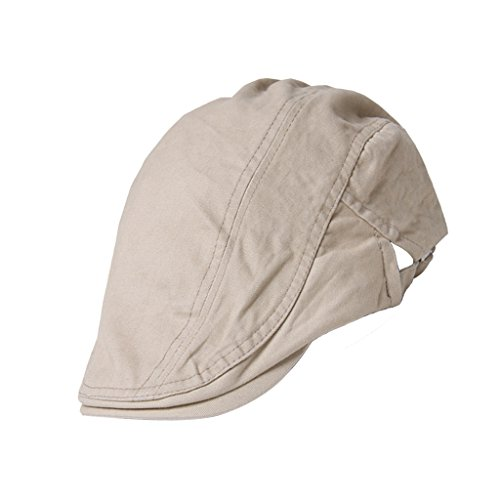 Generic Unisex Erwachsene Schiebermütze Flache Kappe Schirmmütze Flatcap Gatsby Wollmütze Golfermütze - Beige, one size