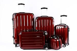 5 Teiliges Kofferset M L XL XXL + Beautycase Polycarbonat / ABS Trolley Koffer Bordcase Set Hartschale Reisekoffer Kofferset TSA Schloss (Rot)