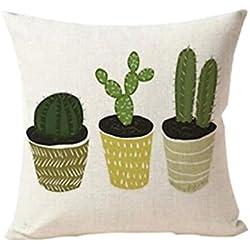 Originaltree - Funda de cojín de lino con diseño de cactus, Lino, 5#, 45*45