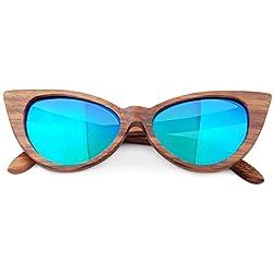 LQQ Gafas de Sol de Madera del Ojo de Gato, UV400, Gafas de Sol polarizadas, Vintage, convenientes para los Hombres/Las Mujeres (Color : B)
