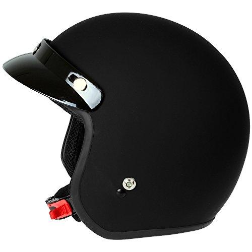 Mach1® Jethelm Motorradhelm schwarz Roller Scooter Helm Größe XS bis XXL mit abnehmbarem Schirm (Größe 63-64 cm XXL) (Schwarz-matt, 57-58cm (M)) - 2