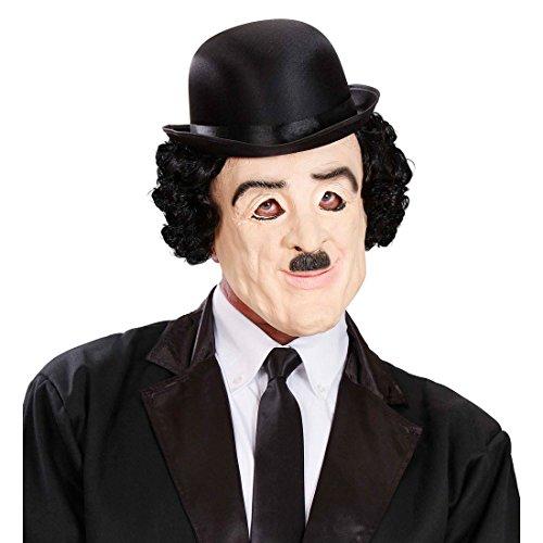 Amakando Charlie Chaplin Maske Hollywood Star Latexmaske mit Haaren 20er Jahre Promi Faschingsmaske Filmstar Karnevalsmaske Filmmaske mit Perücke Komiker Gesichtsmaske