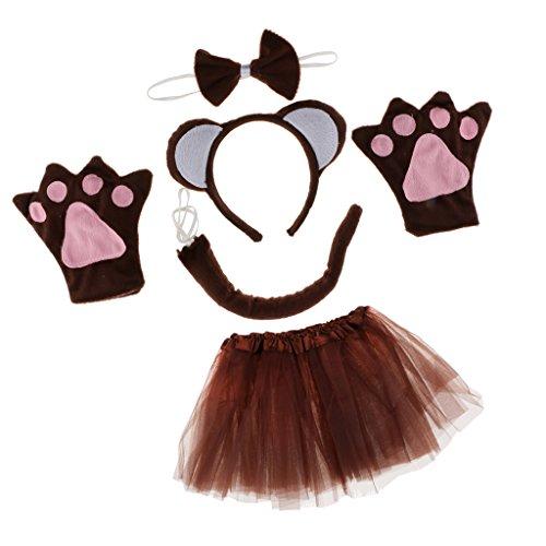 Sharplace Tierkostüm Affenkostüm Set - Affen Ohren Haarreif, Fliege, Handschuhe, Schwanz und Tutu Rock, Geschenk Zum Geburtstag Oder Weihnachten Cosplay Party Kostüm