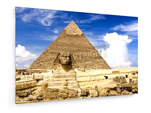 Shariff Che'lah - Die Sphinx und die Chephren-Pyramide, Gizeh, Ägypten - 60x40 cm - Leinwandbild auf Keilrahmen - Wand-Bild - Kunst, Gemälde, Foto, Bild auf Leinwand - Städte & Reise