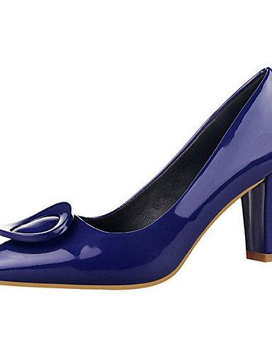 WSS 2016 Chaussures Femme-Décontracté-Noir / Bleu / Violet / Rouge / Gris / Amande-Gros Talon-Talons-Talons-PU black-us8 / eu39 / uk6 / cn39
