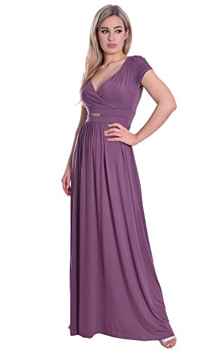 MontyQ Langes Damenkleid Maxi Empire Stil Casual Party Sommerkleid Nude Grape 44/46