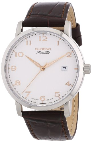 Dugena Men's Dugena Premium Quartz Watch with Beige Dial Analogue Display and Brown Leather Strap