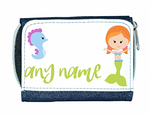 personalised-mermaid-m4-green-tail-with-redhead-seahorse-any-name-ladies-purse