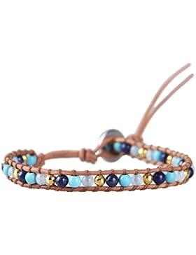 KELITCH Lapislazuli Türkis Amazonite Hämatit Perlen Armband StrangBeige Leder Armbänder