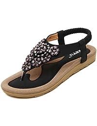 7e74ebd304cb39 Lolittas Sandal Summer Beach Floral Leather Flip Flops Thong Sandal for  Women ,Bohemia Smart Comfortable