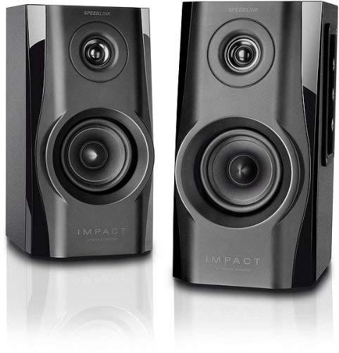 Speedlink Aktives Lautsprechersystem - IMPACT Stereo Speaker 3,5mm für Computer / Laptop schwarz (Generalüberholt)