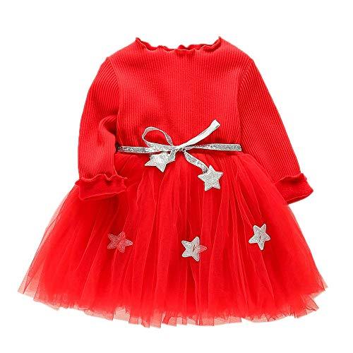 IZHH Kinder Kleider, Kleinkind Kinder Baby Mädchen Langarm Sterne Kleidung Party Prinzessin Kleider 6-24 Mt Fünfzackiger Stern Gaze Pettiskirt Geburtstag Kleid Outdoor Dress(Rot,8)