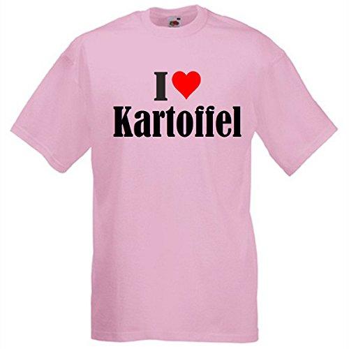 """T-Shirt """"I Love Kartoffel"""" für Damen Herren und Kinder in Pink Pink"""