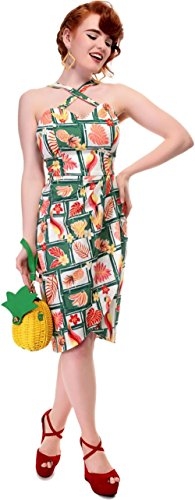 Collectif MAHINA Tropical BAMBOO Vintage Tiki Sarong Dress KLEID Rockabilly Weiß mit tropischen Motiven