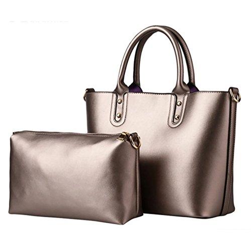 Baymate Elegante da Donna Borsa A Tracolla Tote Bag 2 Pezzi Set Oro