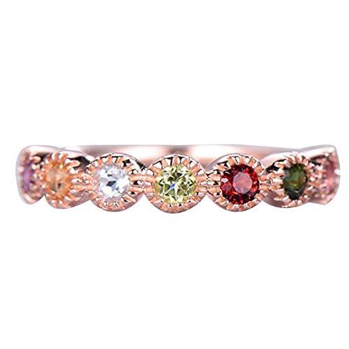 Achidistviq moda donna rotonda finto rubino/ametista/topazio proposta anello dito gioielli partito rose gold us 7