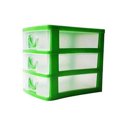 Jancery Desktop 3drawers klein Kunststoff Aufbewahrungsbox Schublade Tower Organizer für Schulen, Büros und Spielzeuge, Plastik, grün, 13 * 9 * 11.5CM - Desktop-tower Kleine
